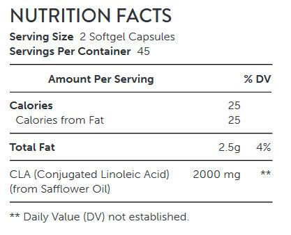 NUTRITION FACTS GNC Total Lean™ CLA