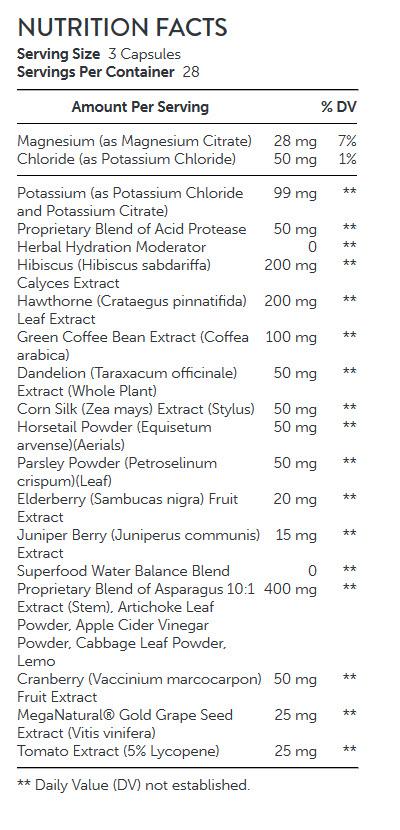 NUTRITION FACTS GNC Total Lean Advanced Waterex Elite