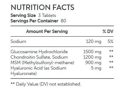 NUTRITION FACTS GNC TriFlex