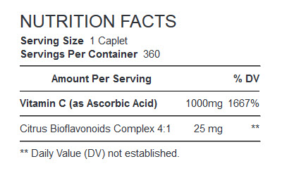 NUTRITION FACTS GNC Vitamin C 1000 MG