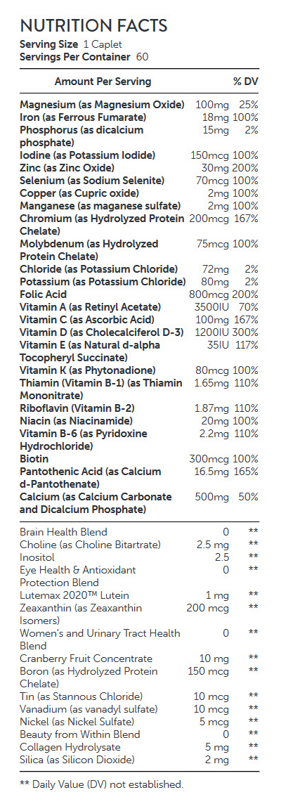 NUTRITION FACTS GNC-Womens-Ultra-Mega-One-Daily