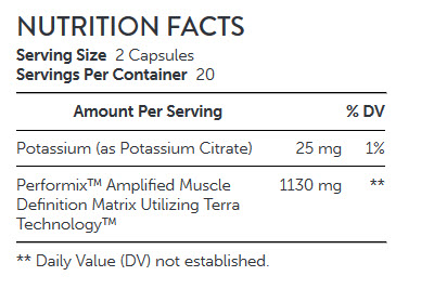 NUTRITION FACTS Performix AMD - Amplified Muscle Definition